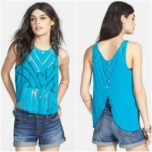 Free People Ethereal Daze Sheer Blue Envelope Tank